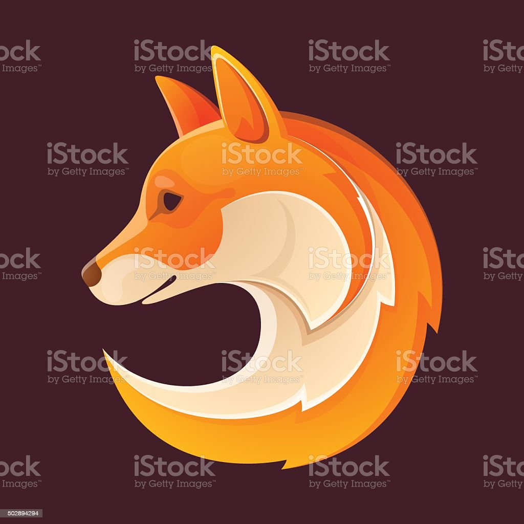 Fox head volume icon. Orange on black. vector art illustration