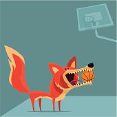 vector illustration of funny fox with basketball...