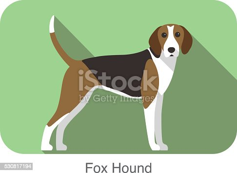 fox hound terrier standing and watching, side, dog cartoon image series