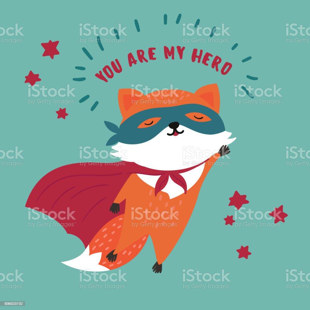 Raposa no máscara de super-herói e capa. Você é meu herói - ilustração de arte em vetor