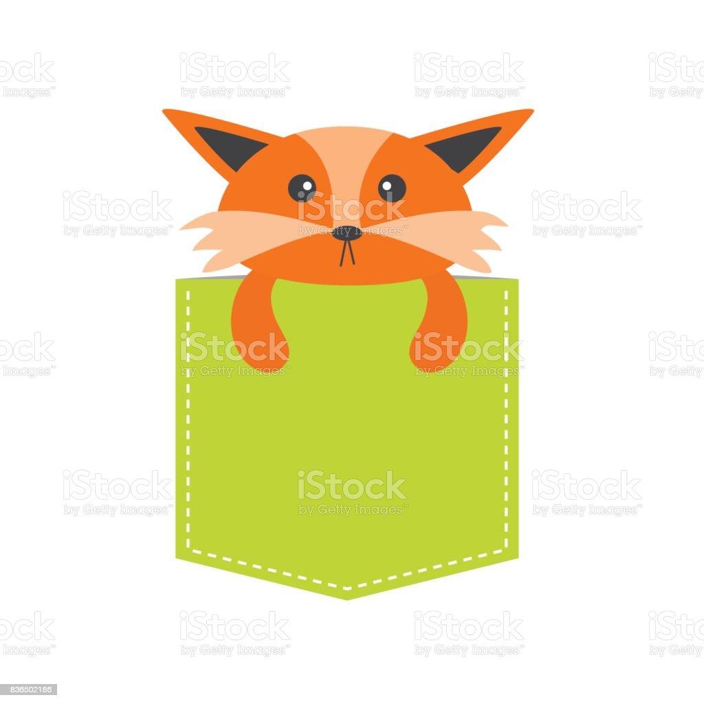 ポケットを狐しますかわいい漫画のキャラクター破線森の動物の