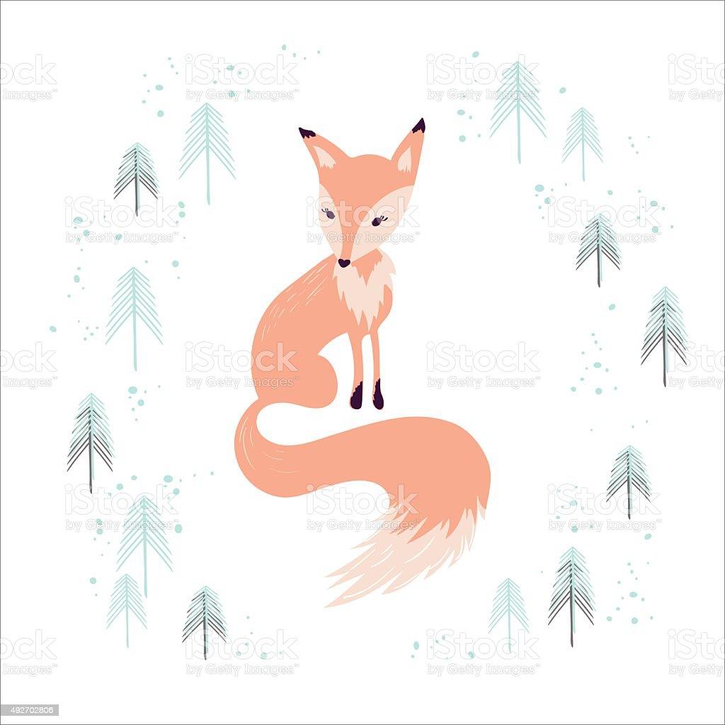 ギツネ冬の松の森白で分離 のイラスト素材 492702806   istock