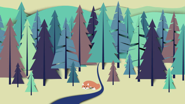 fox lay down beside the river in pine forest landscape, paper art/paper cutting style - river paper stock illustrations, clip art, cartoons, & icons