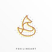 Fox Line Art Illustration Vector Template. Suitable for Creative Industry, Multimedia, entertainment, Educations, Shop, and any related business.
