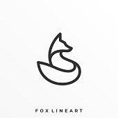 Fox Line Art Illustration Vector Template