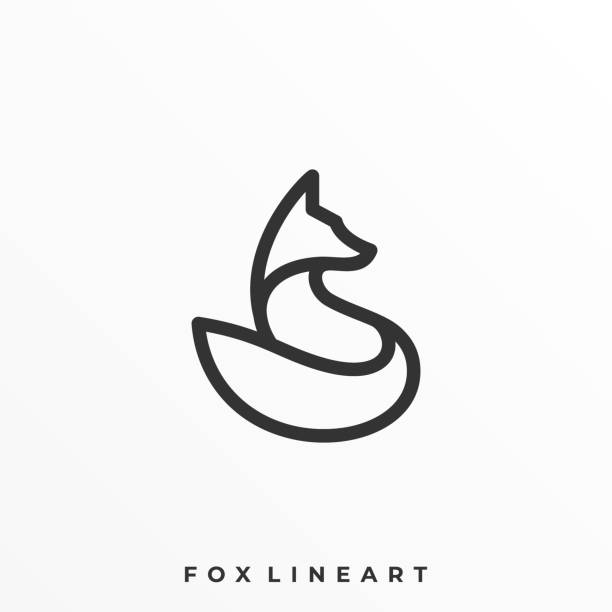 Fox Line Art Illustration Vector Template Fox Line Art Illustration Vector Template. Suitable for Creative Industry, Multimedia, entertainment, Educations, Shop, and any related business. mammal stock illustrations