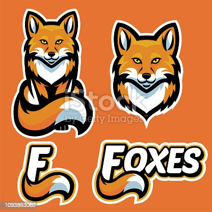 vector of fox mascot character set