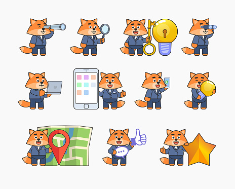 Fox mascot in business suit in various situations