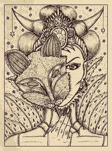 Fox. Mystic concept for Lenormand oracle tarot card.