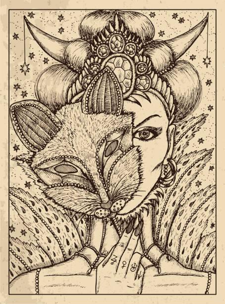 Fox. Mystic concept for Lenormand oracle tarot card. vector art illustration