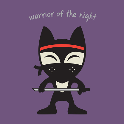 Fox Ninja in black clothes and mask icon