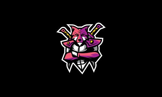 Fox Ninja Warrior icon vector