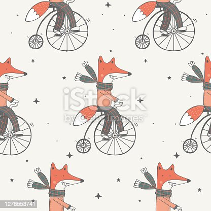 fox on bicycle
