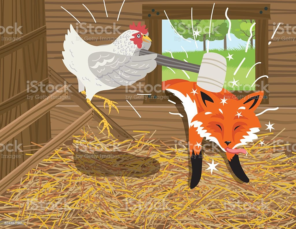 Fox Passed Out After Being Hit With A Mellet royalty-free fox passed out after being hit with a mellet stock vector art & more images of hen
