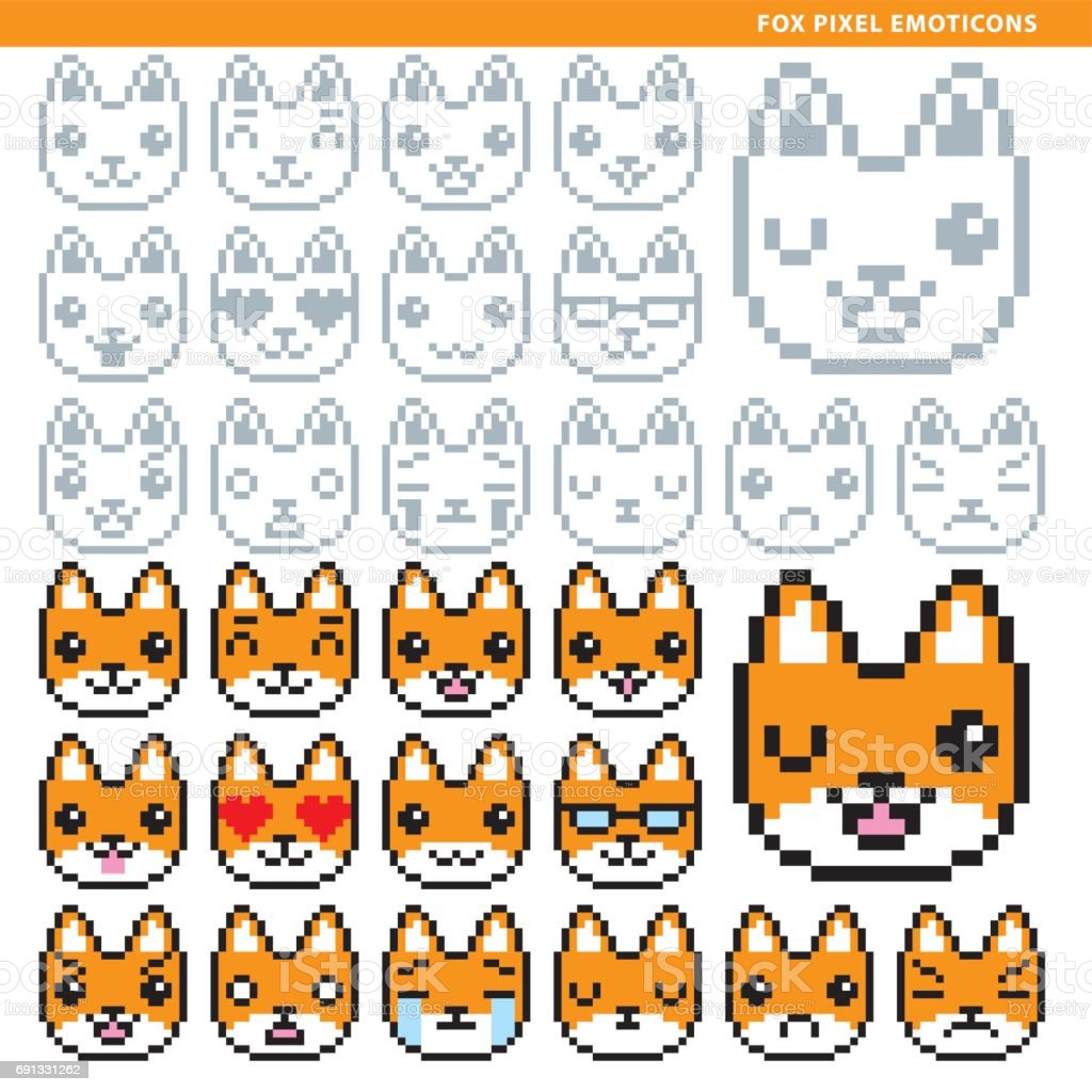 Fox Pixel Emoticons Stock Illustration Download Image Now