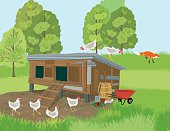 Fox Runs Away From A Henhouse while the chickens keep watch.  Old wooden henhouse with two doors and a ladder, sitting in a green meadow with trees in the distance. Simple cartoon style