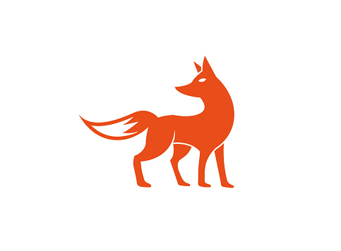 fox standing and looking back for logo