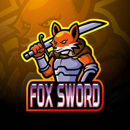 Fox sword mascot design