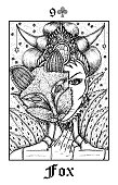 Fox. Tarot card from vector Lenormand Gothic Mysteries oracle deck.