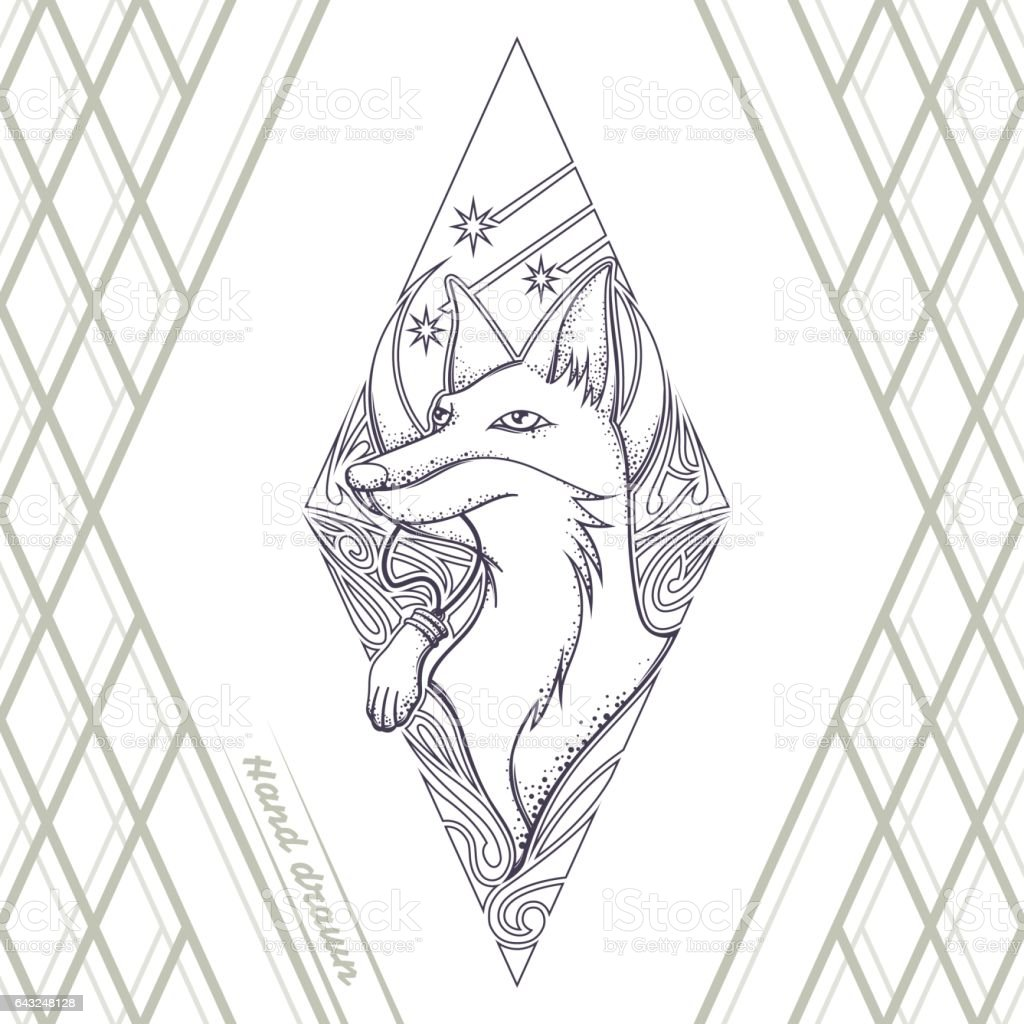 fox tattoo hand drawn black stock vector art more images of