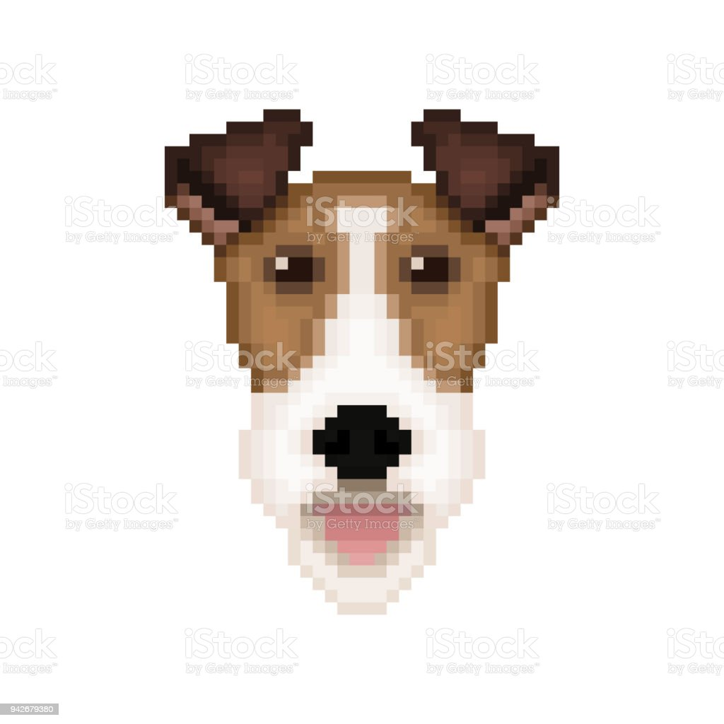 Fox Terrier Dog Head In Pixel Art Style Vector Illustration