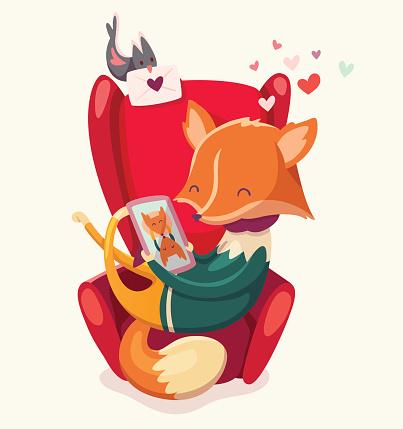 Fox thinking of his girlfriend.