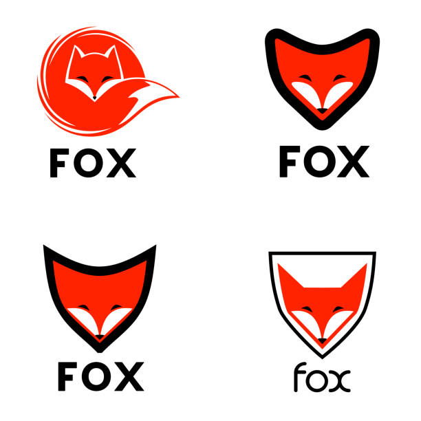 Fox vector design element. Recommended for security company. Vector icon set vector art illustration