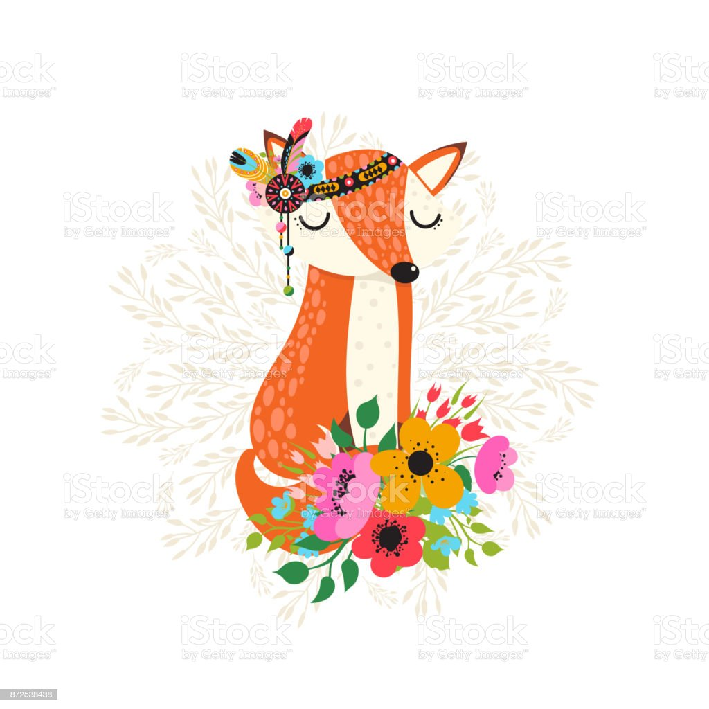 Fox with flowers in cartoon style vector art illustration