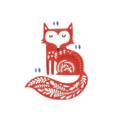 Fox with folk ornament flat vector illustration