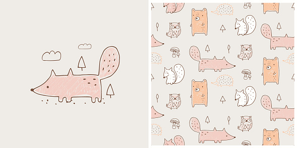 Fox with seamless pattern