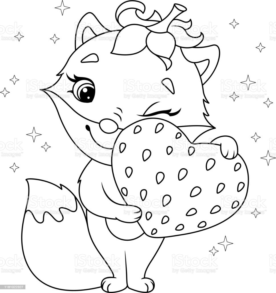 Fox With Strawberry Coloring Page Stock Illustration Download Image Now Istock