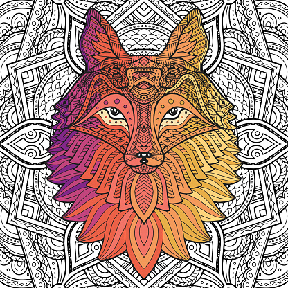 Fox zentangle or Boho style for coloring book for adults or t-shirt design