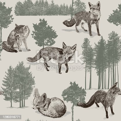 Foxes & Trees Seamless Repeat