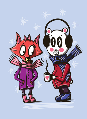 Foxy and bear in winter clothes