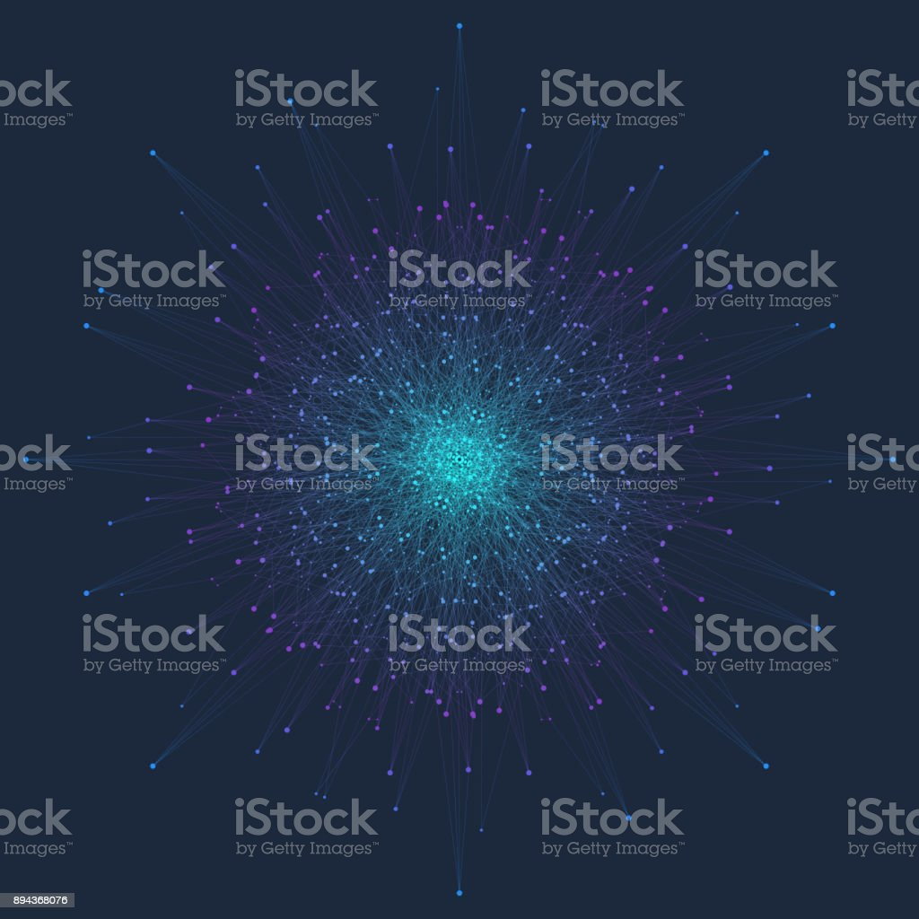 Fractal element with connected line and dots. Virtual background communication or particle compounds. Minimalist style concentric circle. Digital data visualization. Lines plexus. Vector illustration vector art illustration