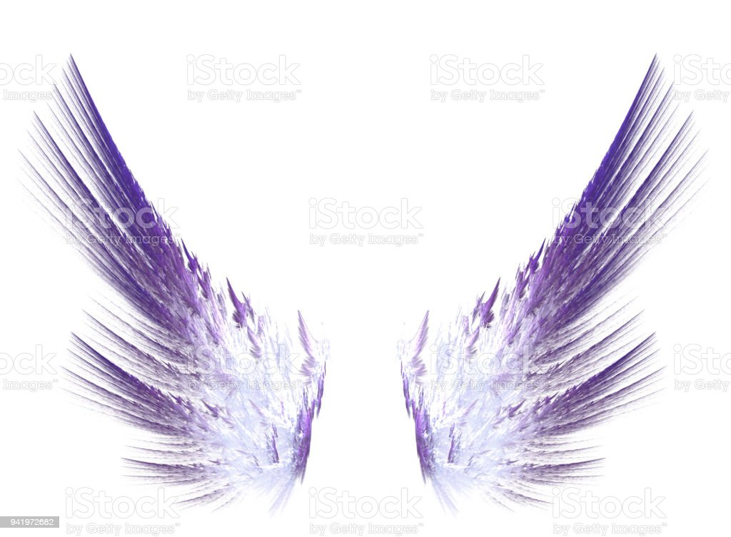 Fractal purple wings on white isolated background vector art illustration