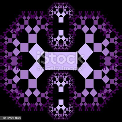 istock Fractal Pythagoras tree patterns, purple ornament composed of small decreasing squares on black background, 1312882548