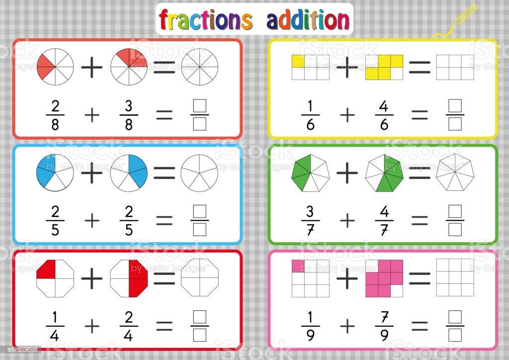 Ilustración de Adición De Fracciones Para Imprimir Hojas De Cálculo ...