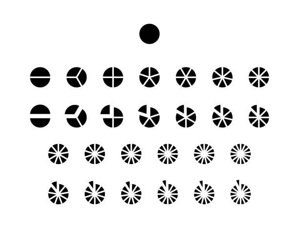 fraktionen vektorsymbole. kreisdiagramm-linienkreise - portion stock-grafiken, -clipart, -cartoons und -symbole