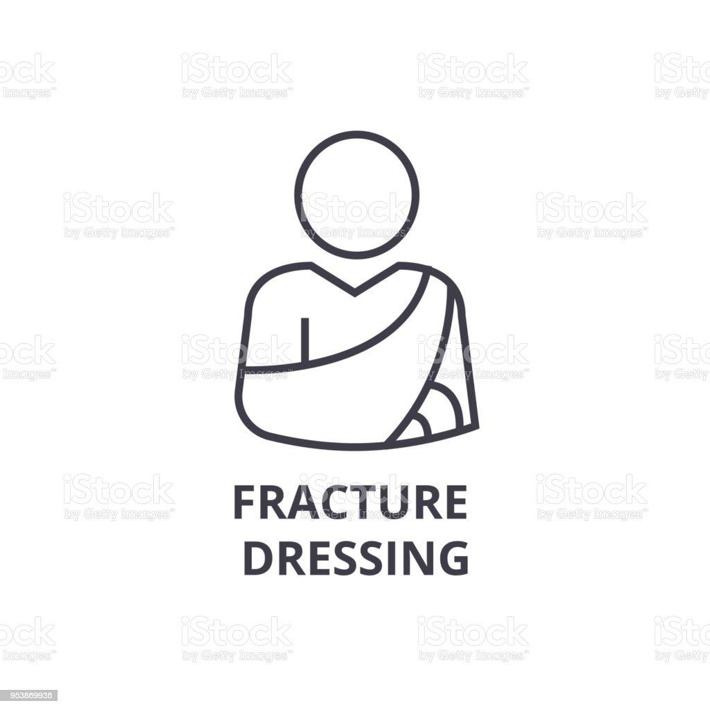 fracture dressing thin line icon, sign, symbol, illustation, linear concept, vector vector art illustration