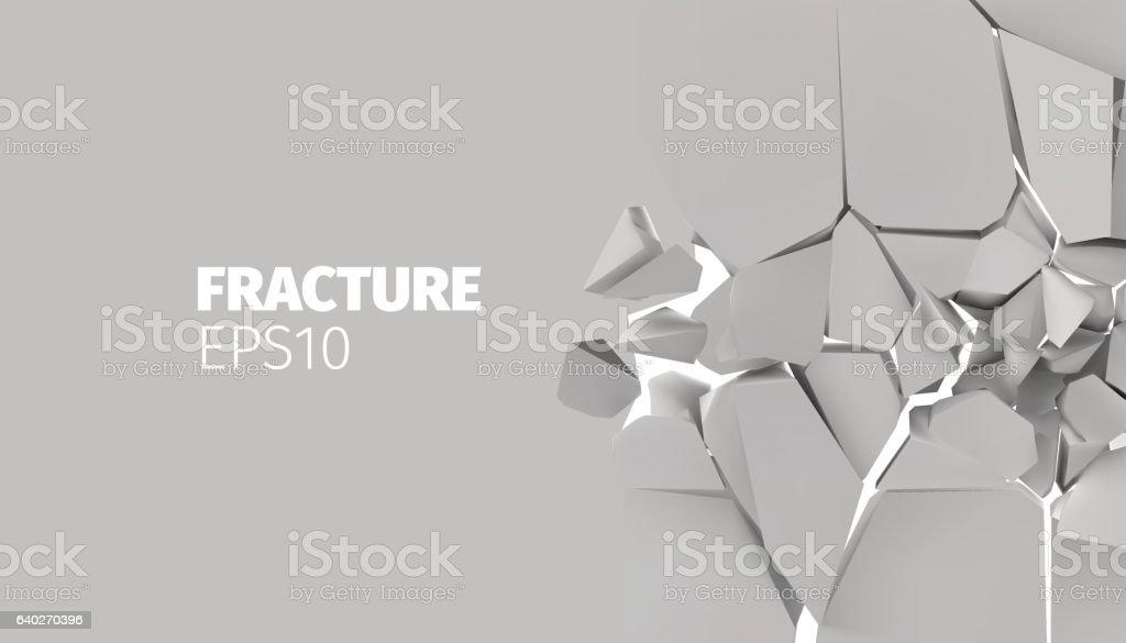 Fracture vector background for banner. Rock explode and destruction vector art illustration
