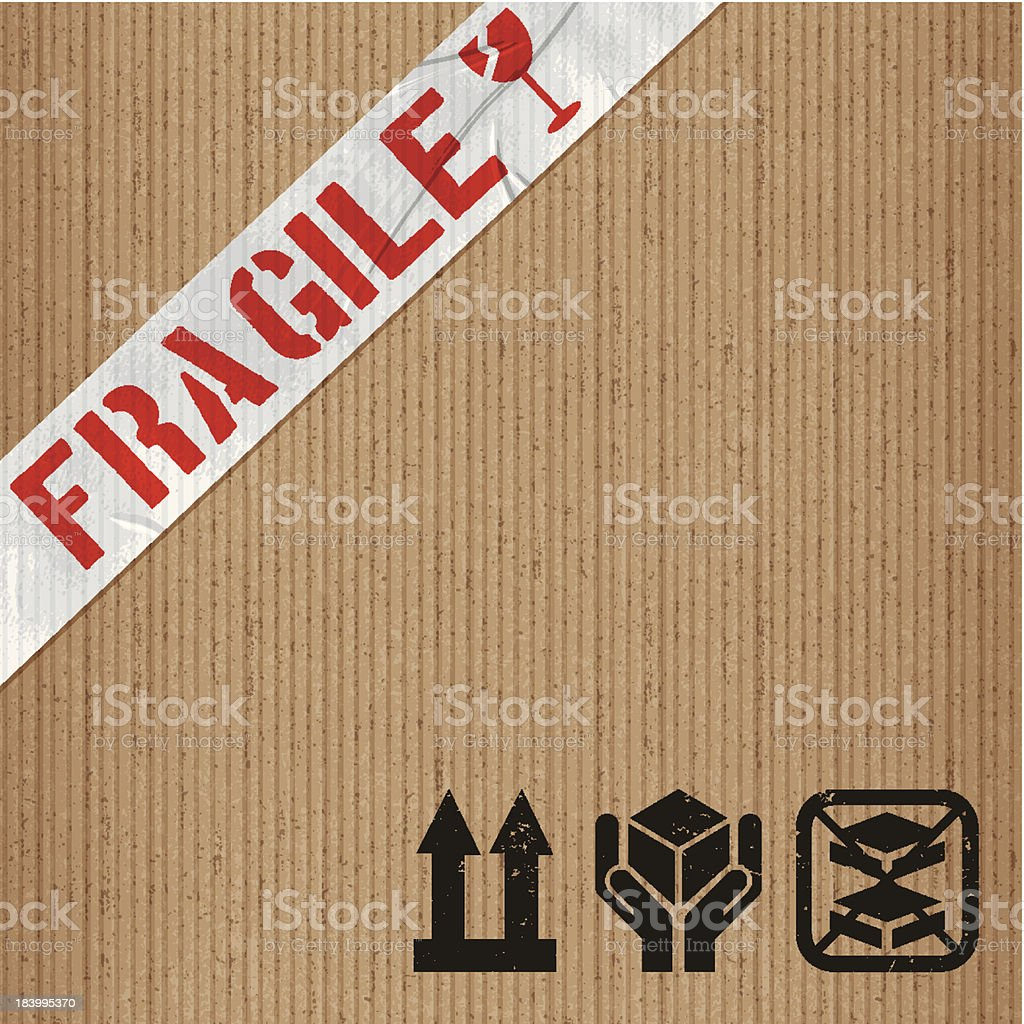 fragile adhesive tape on cardboard with rubber stamps vector art illustration