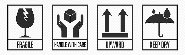Fragile package icons set, handle with care logistics and delivery shipping labels. Fragile box, keep dry umbrella, cargo warning vector signs