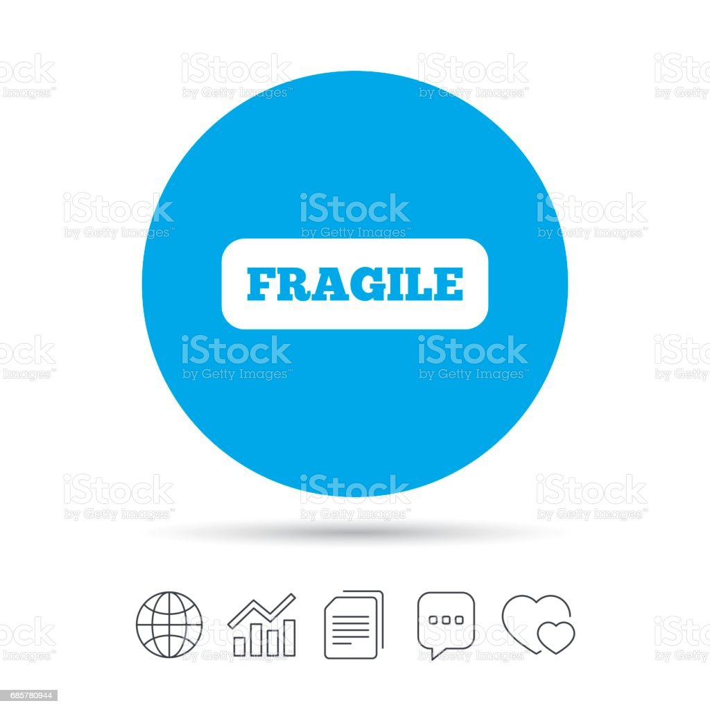Fragile parcel icon. Package delivery symbol. royalty-free fragile parcel icon package delivery symbol stock vector art & more images of art