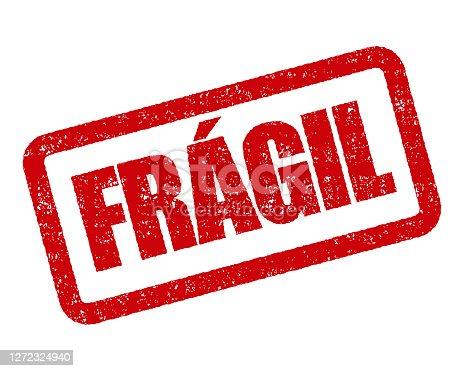 istock Fragile Portuguese Rubber Stamp 1272324940