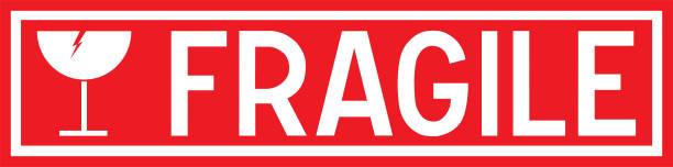 illustrazioni stock, clip art, cartoni animati e icone di tendenza di fragile sticker for packaging - fragilità