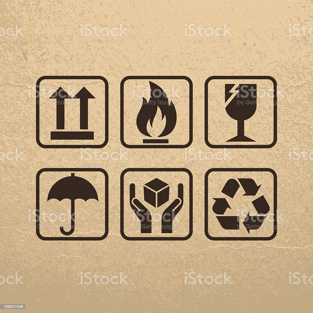 Fragile Symbols On Brown Paper Texture vector art illustration