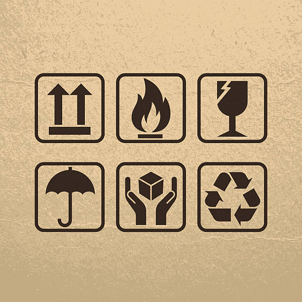 Fragile Symbols On Brown Paper Texture Files included: fragility stock illustrations