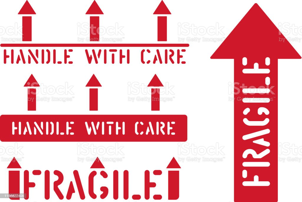 Fragile, this way up, handle with care box sign. Logistics clean...