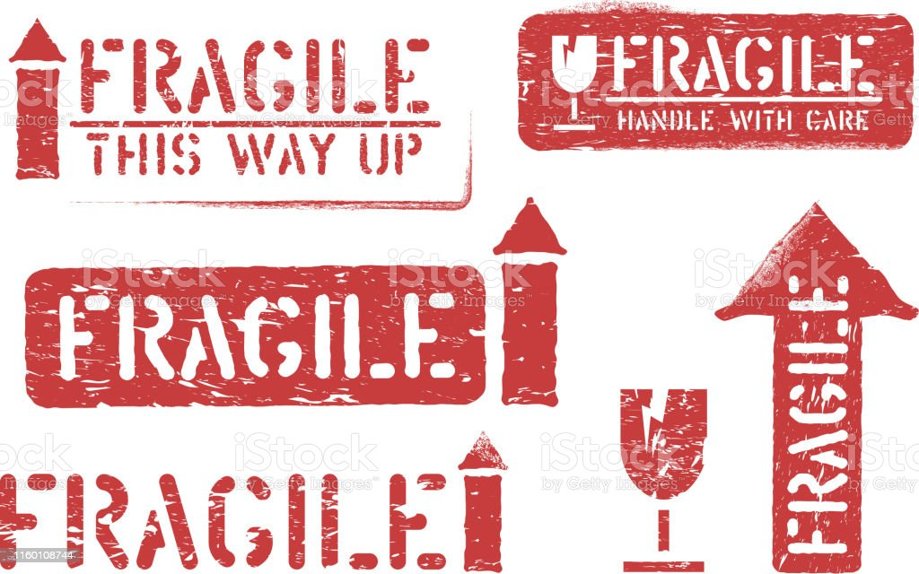 Fragile, this way up, handle with care grungy box signs and symbols...